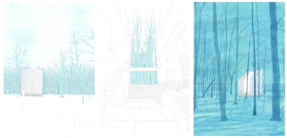 Watercolors in tones of blue showing trees and house.