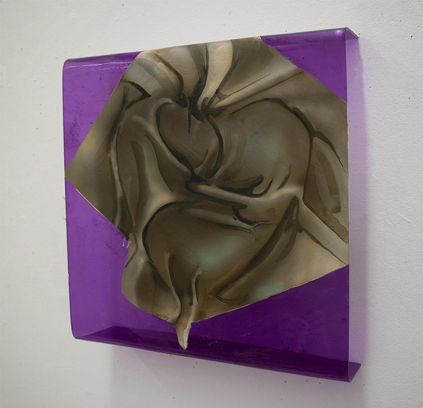 Painting of brown wrinkled fabric painted on semi-transparent purple Plexiglas with edges curved onto the white wall.