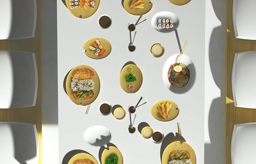 oval shapes of food, a rectangular surface, shadows, a yellow lattice.