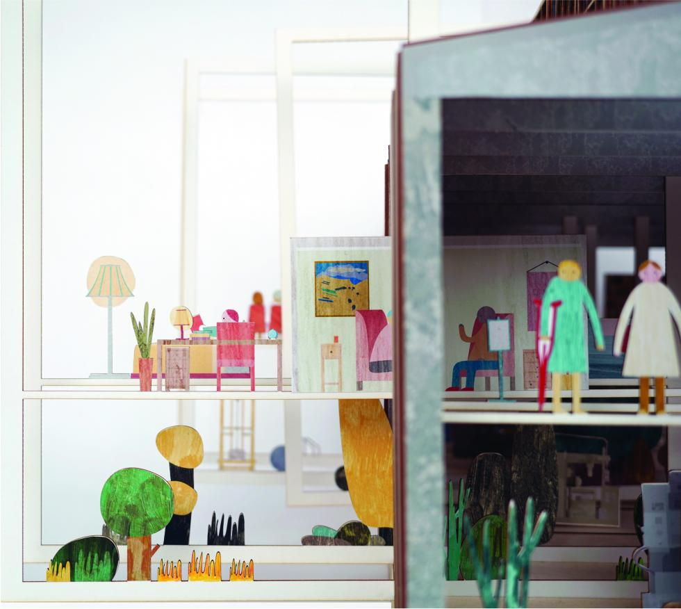 Model showing colorful people, furniture and plants.