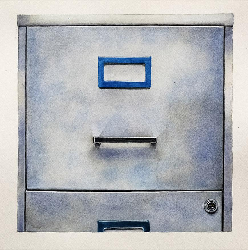 Water color image of a blue, grey filing cabinet.