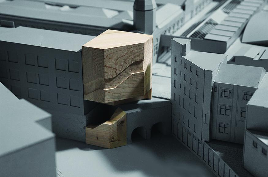 Close up image of an architectural model.