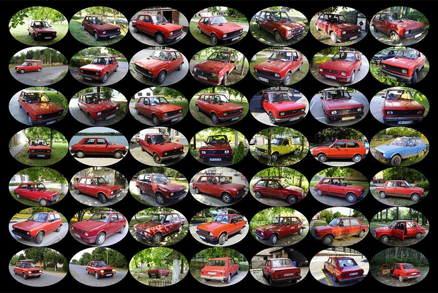 Black background with forty nine evenly spaced ovals with forty seven different views of an old red car, one oval with a light green truck, and one oval with a light blue car.