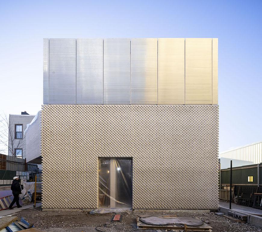 Square facade of a modern building.