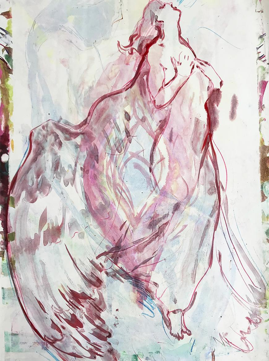 Print of an angel with large wings in a maroon outline against a faded watercolor background.