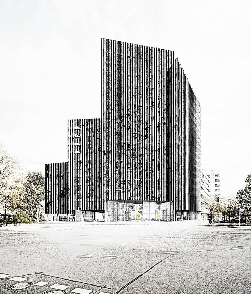 Digital rendering of a modern architectural structure.
