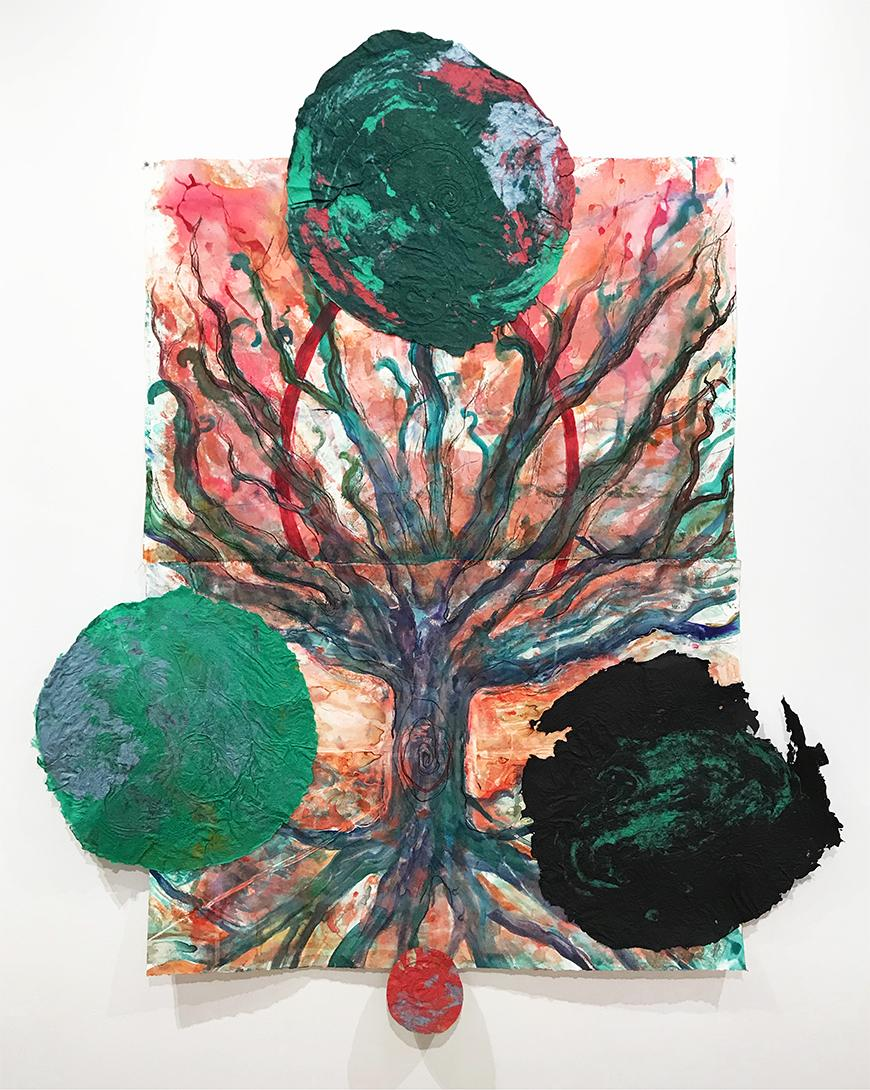 Print of a tree with blue, purple, green roots against a faded red, and orange background with 3 green painted paper circles and one small red circle.