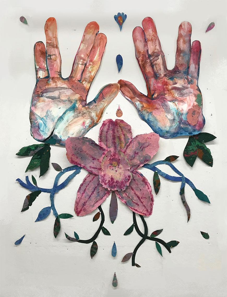 Print of two hands in hues of peach, white, pink, and blue spread against a white background above a pink and purple flower in the middle with dark blue and green vines shooting out.