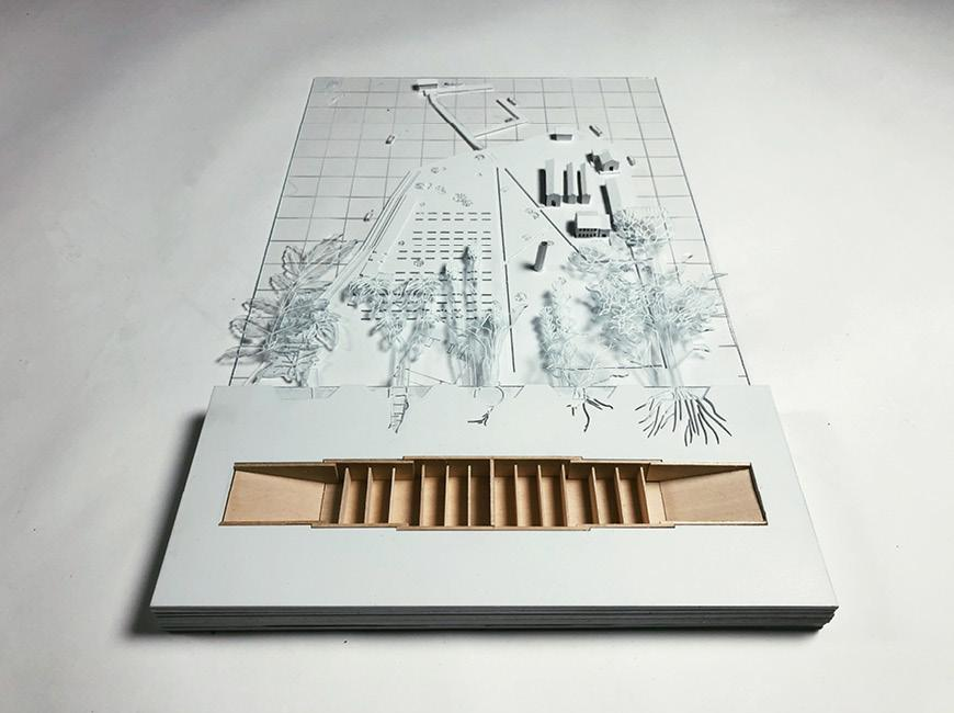 Architectural drawing and model.