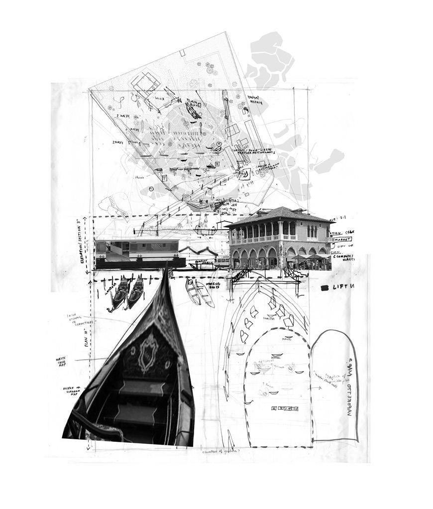 Collage drawing with gondola sections and buildings.