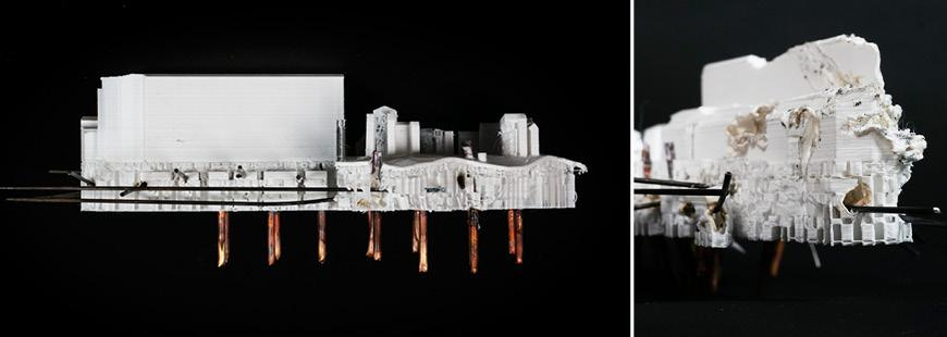 Two views of a white architectural model.