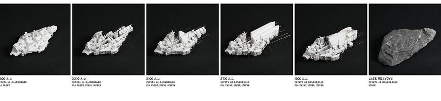 Six architectural models, each showing more decay.