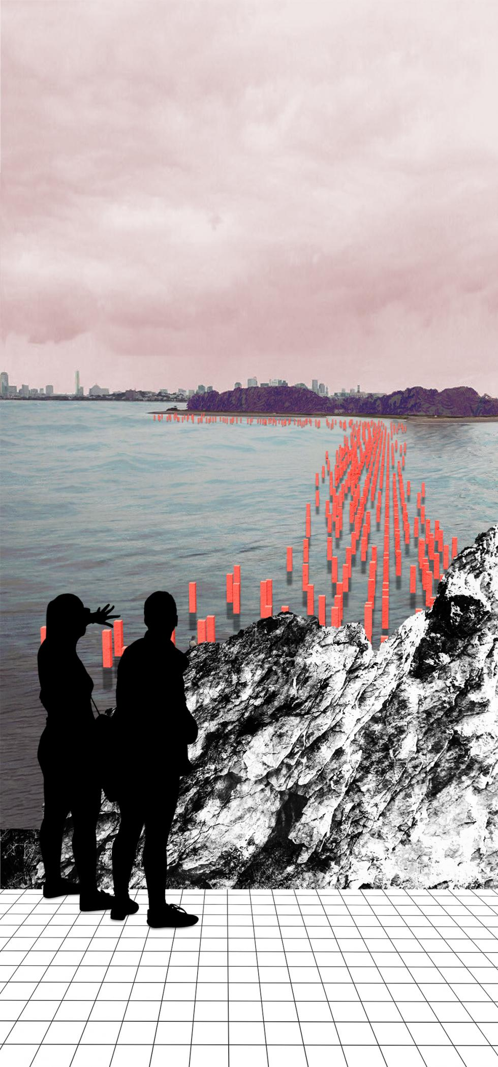 graphic rendering on sandbar with red pylon structures