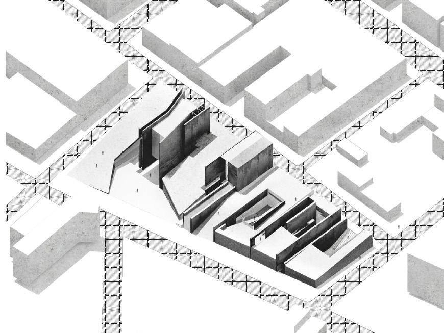 Rendering of site, aerial view.