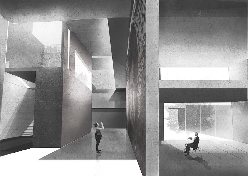 Rendering of building interior with two figures, one on either side of a wall.