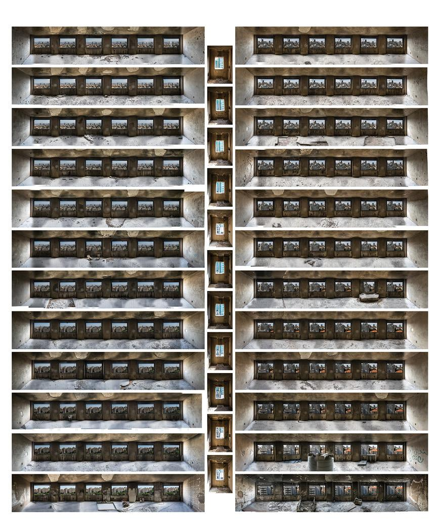 composite of stitched photographic views from interior of the building
