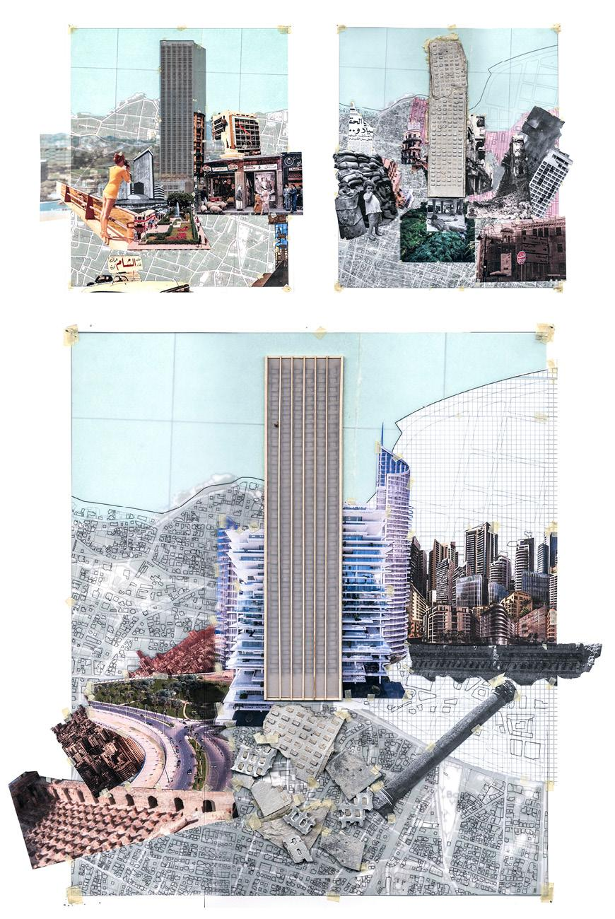 three renderings of skyscraper site illustrating how it holds up under different conditions