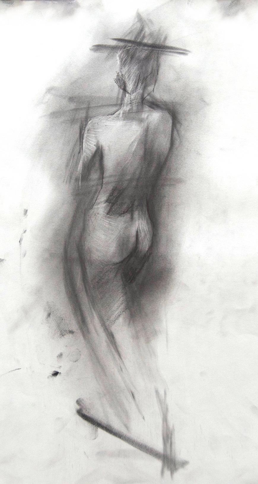 Drawing of a woman's torso from behind.