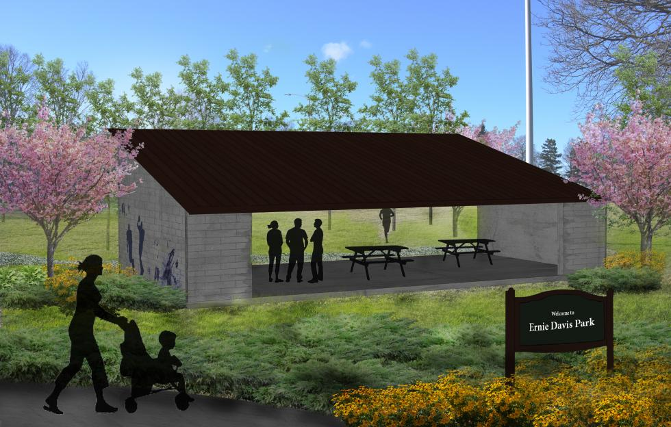 Rendering showing enhancement to proposed for the Ernie Davis Park