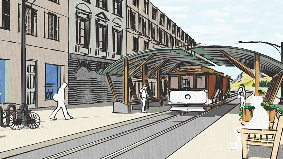 graphic rendering of train on street with canopy structure above