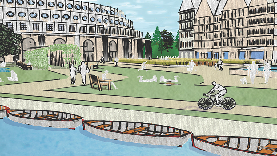 graphic rendering of waterfront park with gray canoes and buildings in background