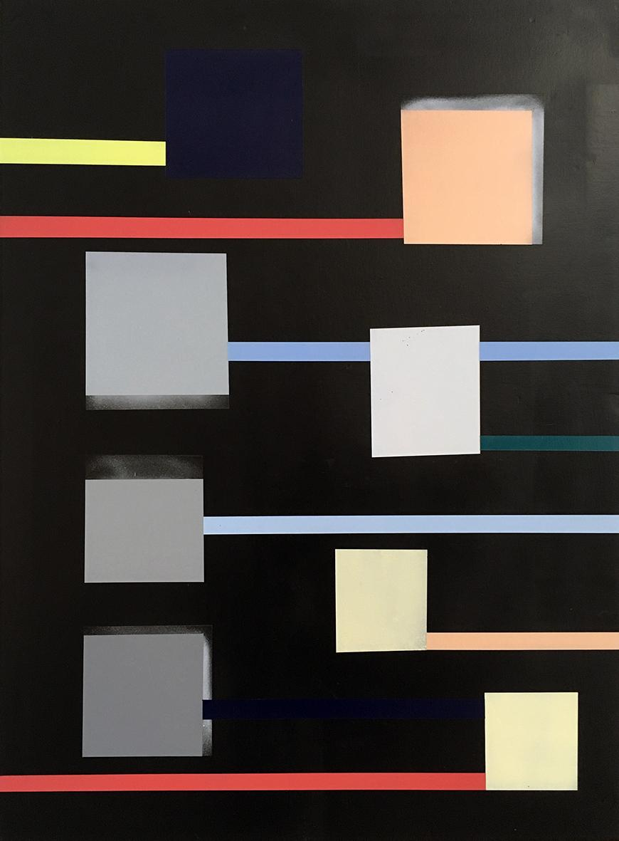 Abstract work featuring different colored squares and rectangles on a black background.