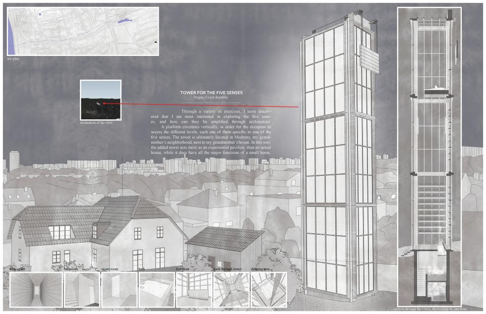 Digital rendering of an architectural structure, situated in an urban setting.