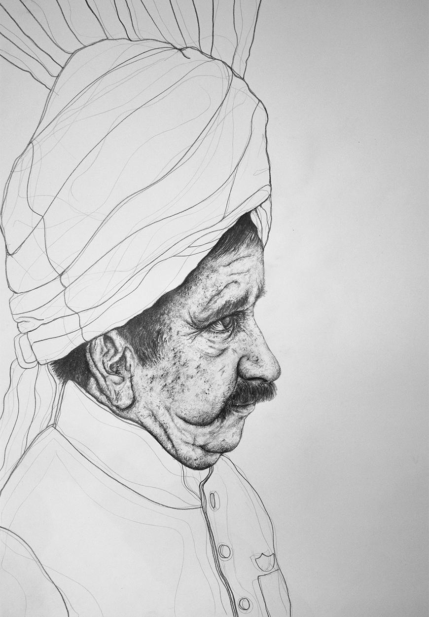 Black and white sketch of an older mustached man looking to the viewer's right wearing a turban.