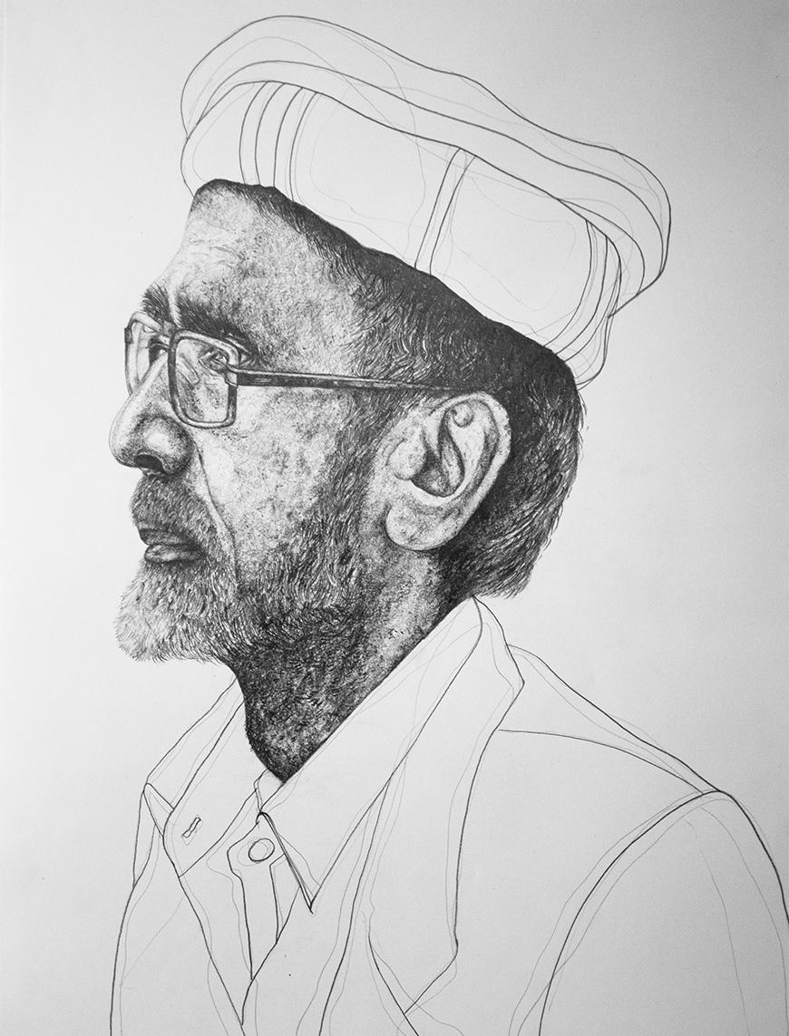 Black and white profile sketch of a bearded man looking to the viewer's left wearing glasses and a turban.