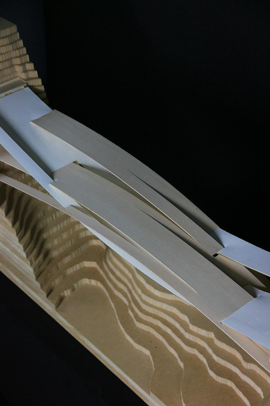 An architectural model of a pavilion.