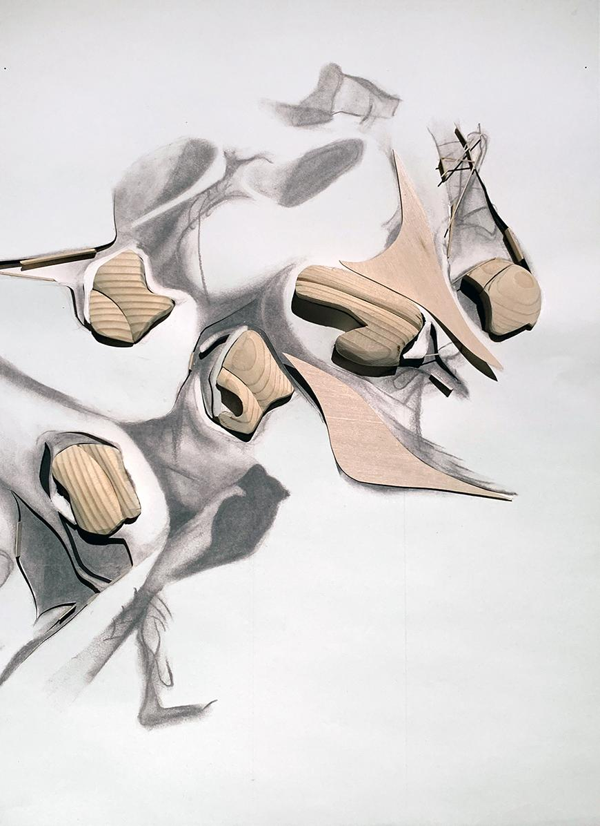Abstracted drawings of shoes.