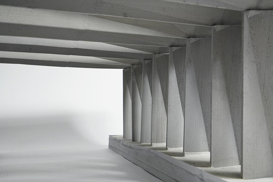 Concreate pillars and ceiling on a white background