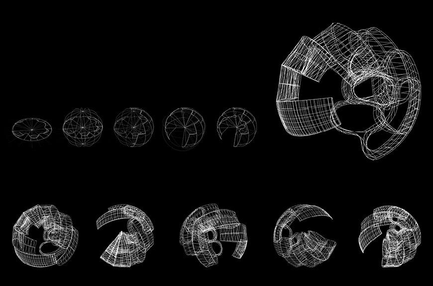 Wireframe drawing that illustrates the movement of a circular form.