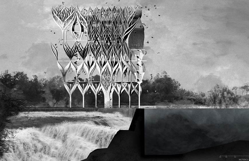 Rendering of structure in the environment, bridging a dam in a river with waterfalls.