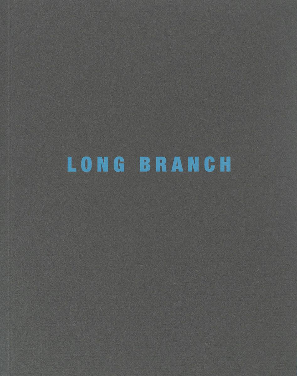 Dark gray book cover with the title Long Branch in blue print in the middle of book.