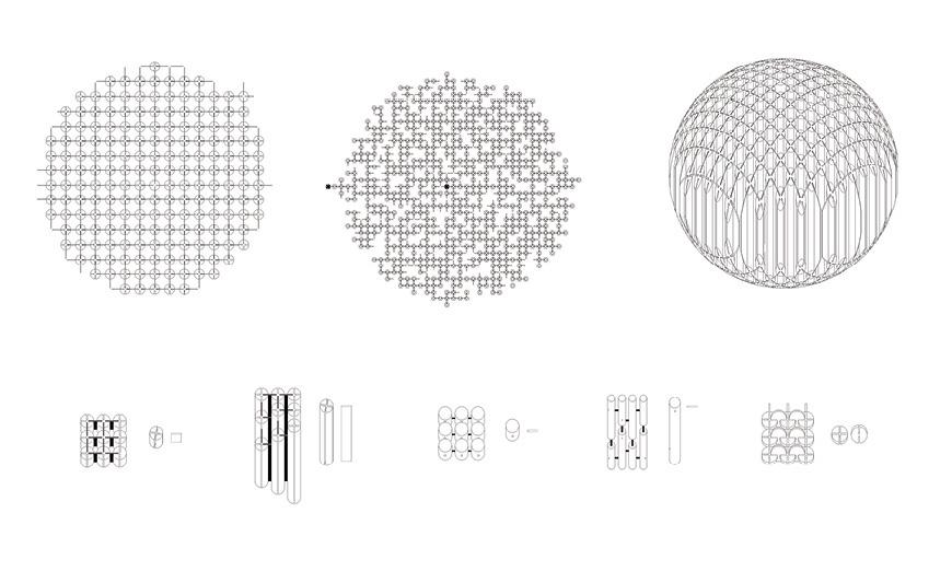 Three drawn variations of spherical structure.