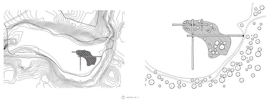 Two map drawings of site, aerial view.