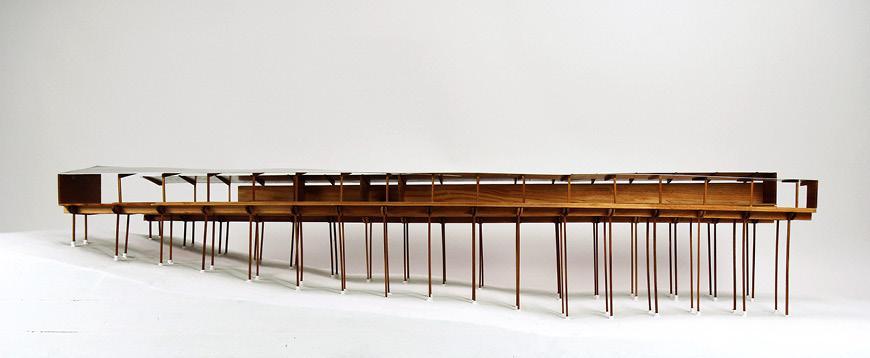 Horizontal wood model on stilts.