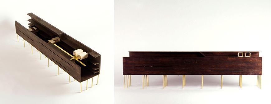 Two views horizontal wood model on stilts.