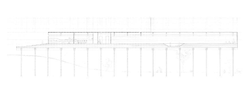 Pencil drawing of horizontal model on stilts.