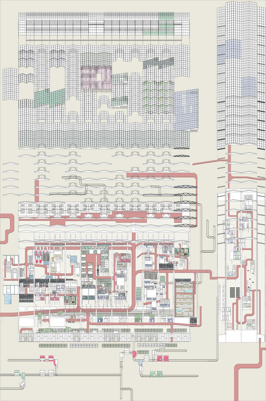 Digital arial rendering of an urban campus.