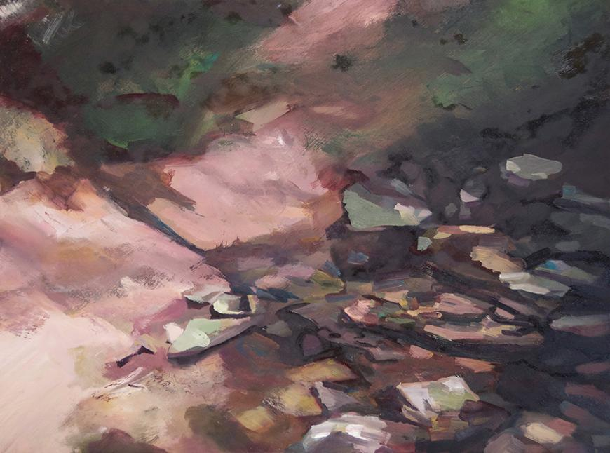 Outdoor landscape painting featuring rocks, grass, and dirt.
