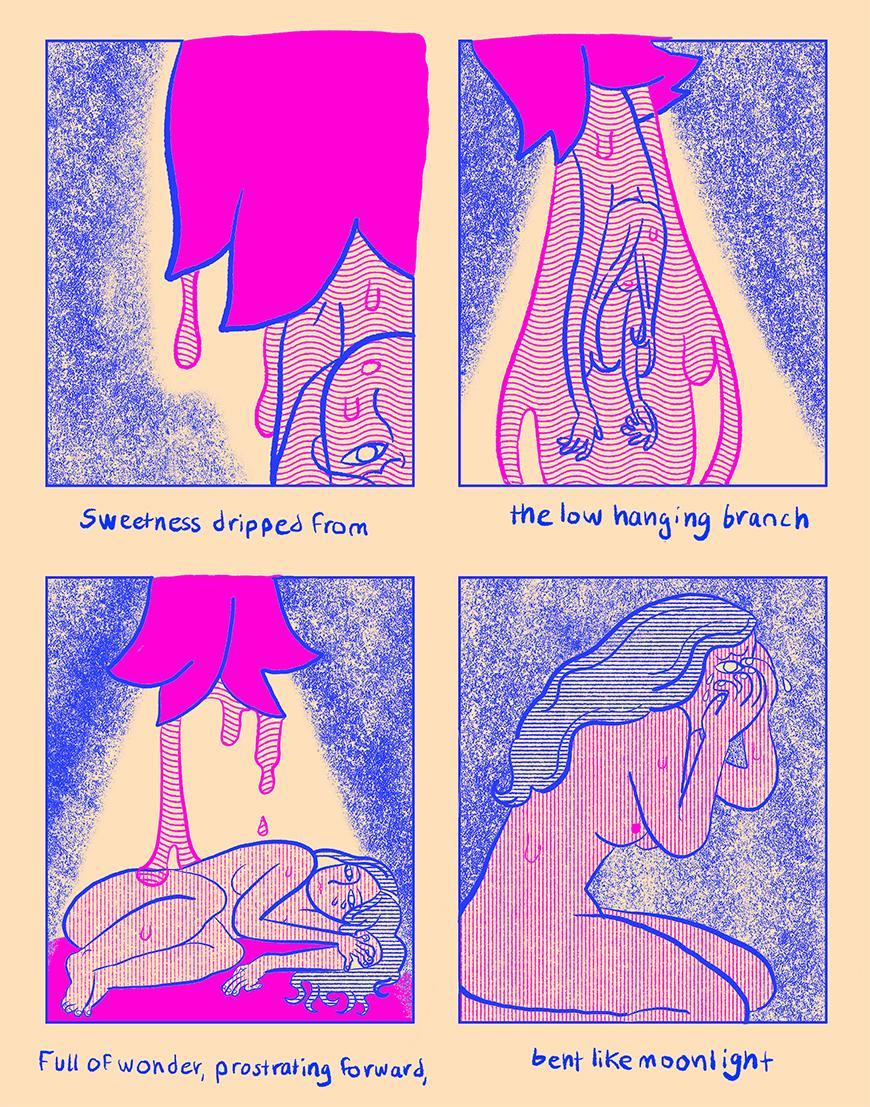 Four squares of blue and pink prints depicting a woman standing beneath a dripping object.