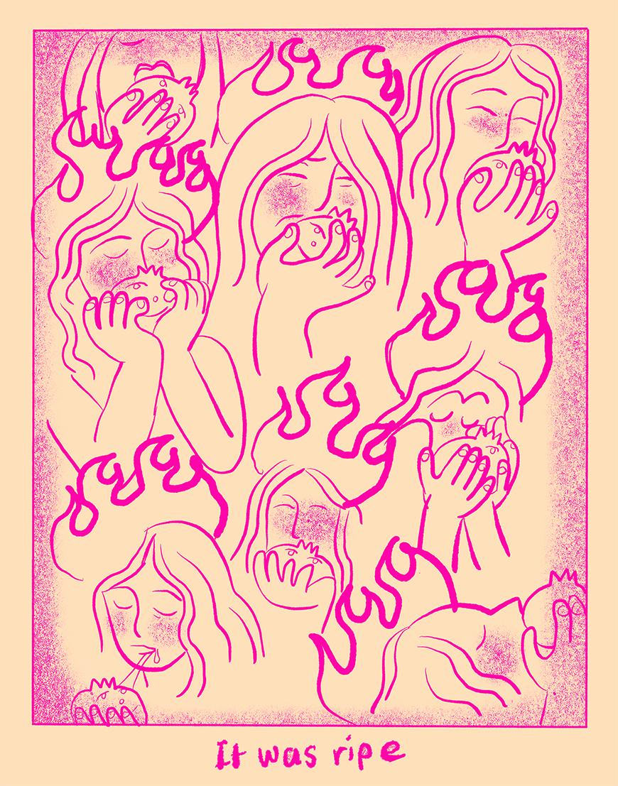 Pink print of eight women as they are eating a pomegranate with all but two with pink flames on top of their head.