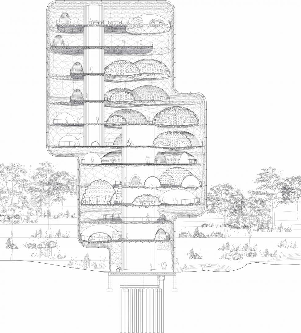 Digital rendering and cross section of an architectural structure.