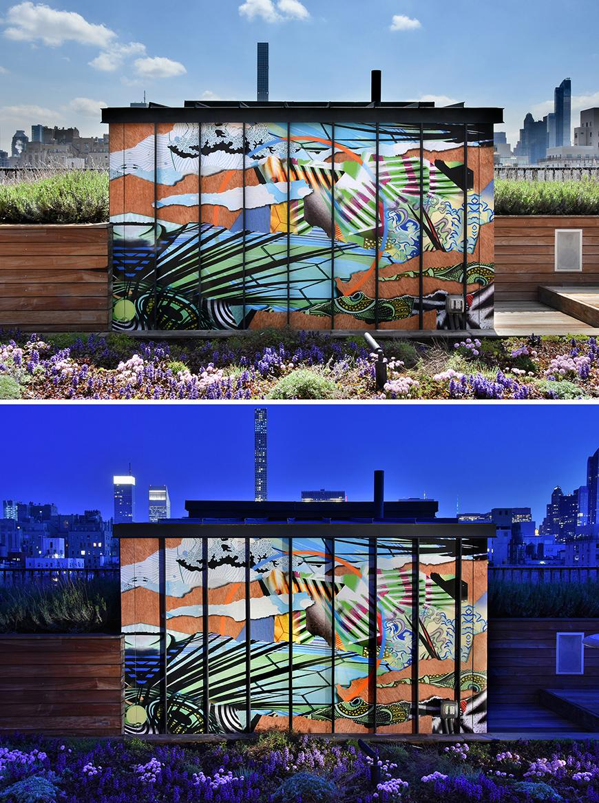 Daytime and nighttime views of an outdoor mural on tall narrow panels