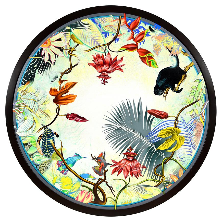 a round painting of birds, foliage, feathers, and animals in vibrant colors
