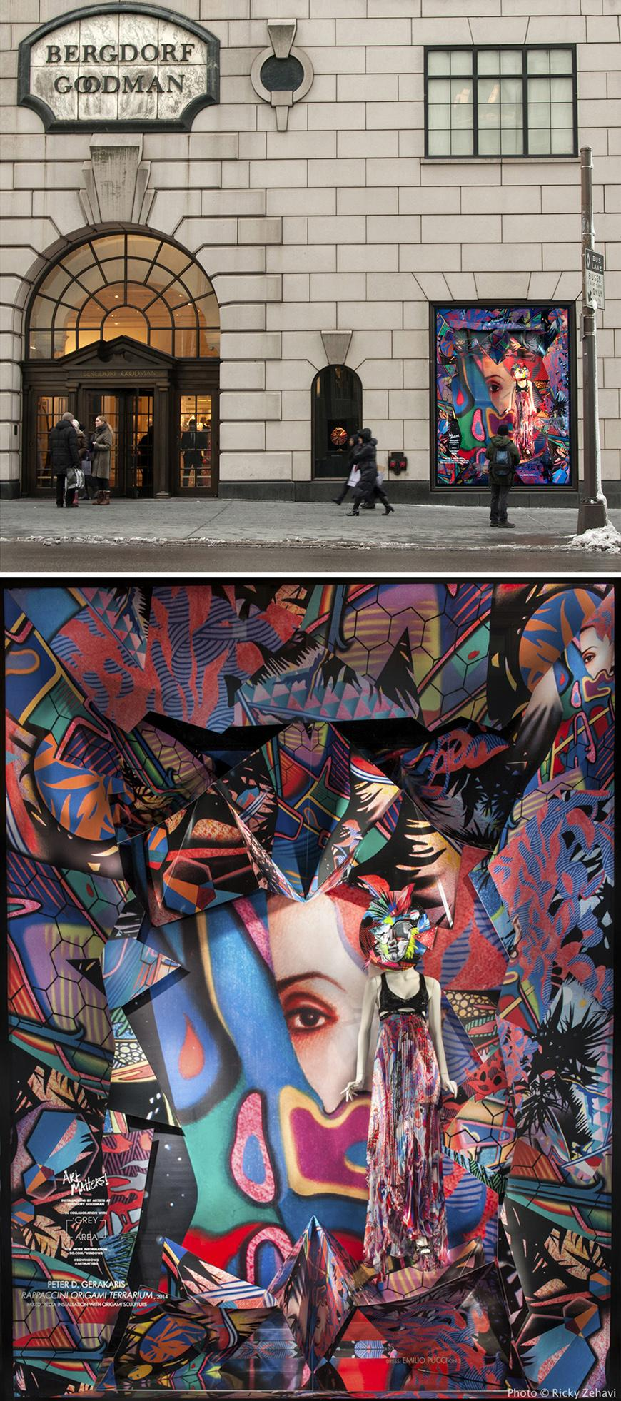 two images: exterior of Bergdorf Goodman store and a vibrant abstract multimedia artwork