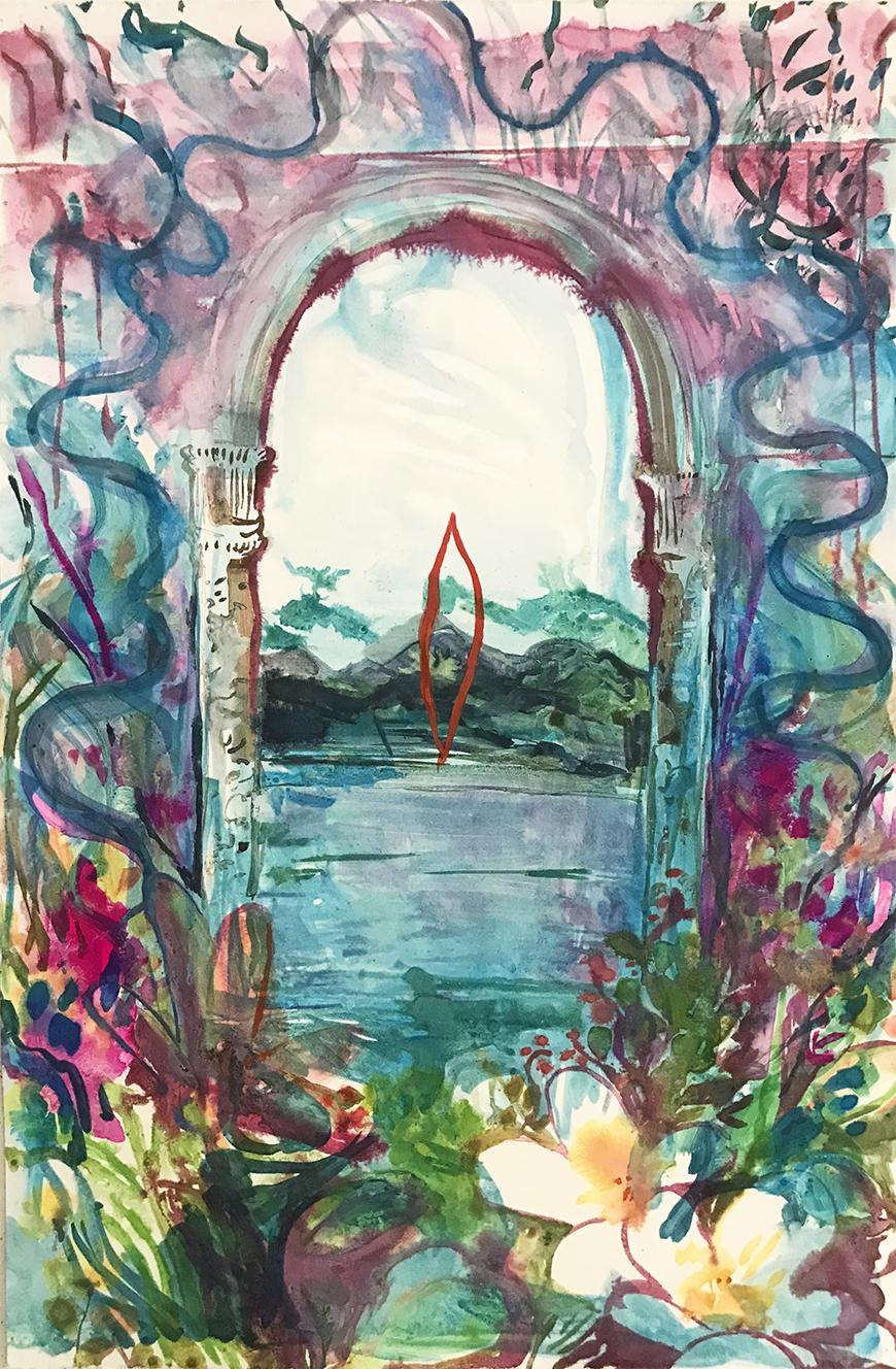 Monotype print of an archway surrounded by flowers and a blue, pink, purple watercolor sky with a mountain and water scene within archway.