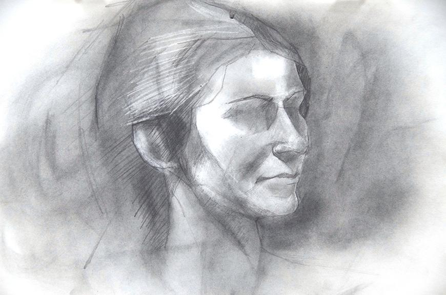 Drawing of a woman's facial profile.